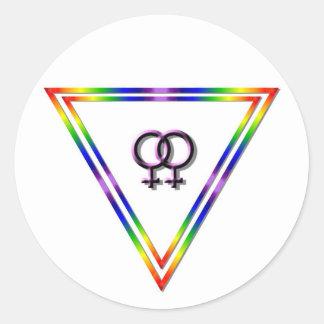 Rainbow Triangle Female/Female Classic Round Sticker