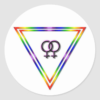 Rainbow Triangle Female/Female Round Sticker