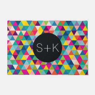 Rainbow Triangle Pattern Custom Monogram Doormat