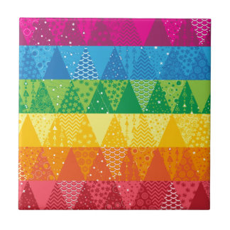 Rainbow Triangles Small Square Tile