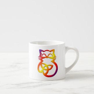 Rainbow Trinity Knot Celtic Cat Espresso Mug