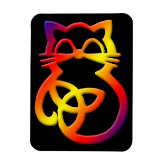 Rainbow Trinity Knot Celtic Cat Magnet