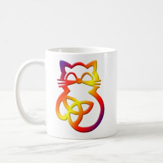 Rainbow Trinity Knot Celtic Cat Mug