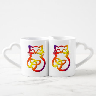 Rainbow Trinity Knot Celtic Cat Mug Set