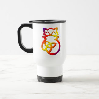 Rainbow Trinity Knot Celtic Cat Travel Mug
