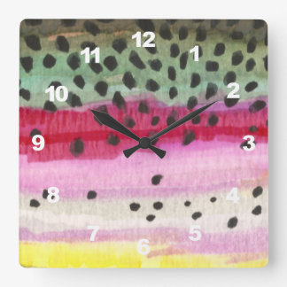 Rainbow Trout Fly Fishing, Ichthyology Square Wall Clock