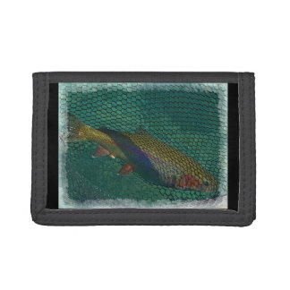 Rainbow Trout in the Net Tri-fold Wallet