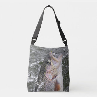 Rainbow Trout Takes The Bait Crossbody Bag