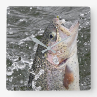 Rainbow Trout Takes The Bait Square Wall Clock