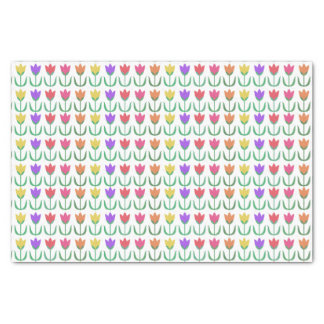 Rainbow Tulip Pattern Colorful Spring Tulips Row Tissue Paper