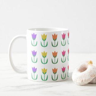 Rainbow Tulip Pattern Colourful Spring Tulips Row Coffee Mug