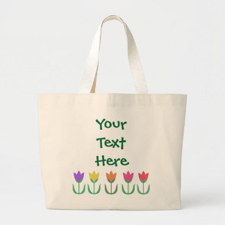 Rainbow Tulip Pattern Colourful Spring Tulips Row Large Tote Bag