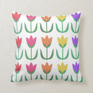 Rainbow Tulip Pattern Colourful Spring Tulips Rows Throw Pillow