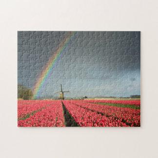 Rainbow, tulips and windmill jigsaw puzzle