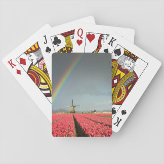 Rainbow, tulips and windmill playing cards