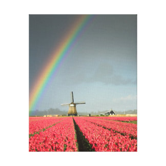 Rainbow, tulips and windmill vertical canvas print