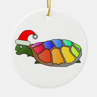 Rainbow Turtle with Santa Hat Ceramic Ornament