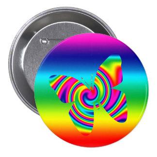 Rainbow Twirl Butterfly 7.5 Cm Round Badge