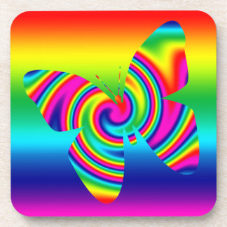 Rainbow Twirl Butterfly Beverage Coasters