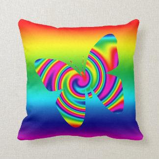 Rainbow Twirl Butterfly Cushion