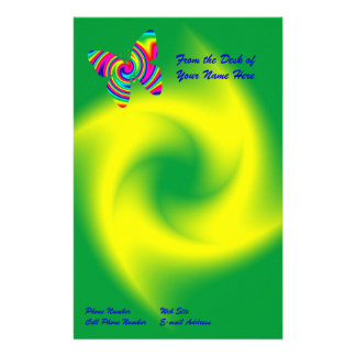 Rainbow Twirl Butterfly Stationery Paper