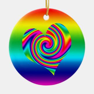 Rainbow Twirl Heart Double-Sided Ceramic Round Christmas Ornament