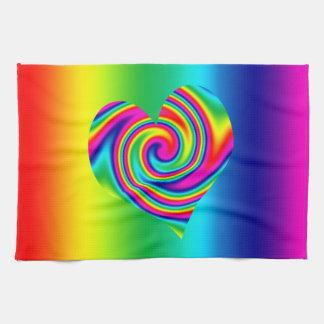Rainbow Twirl Heart Towels