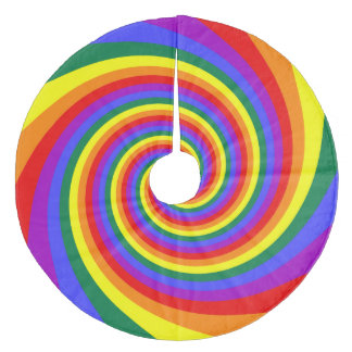 Rainbow Twirl Pattern Fleece Tree Skirt