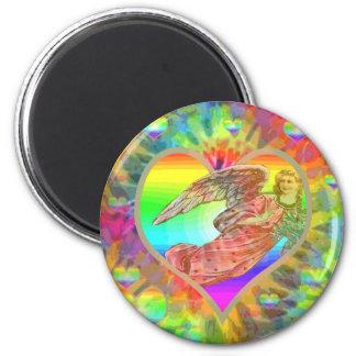 Rainbow Tye Dye Angel 6 Cm Round Magnet