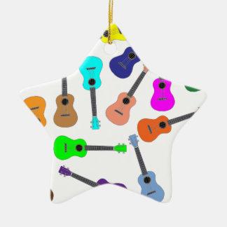 Rainbow Ukulele Ceramic Ornament