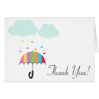 Rainbow Umbrella Neutral Baby Shower Thank You Note Card