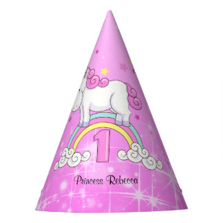 Rainbow Unicorn 1st Birthday Party Hat