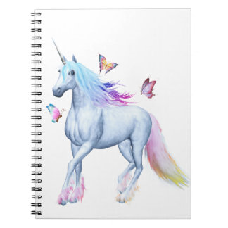 Rainbow unicorn and butterflies spiral notebook