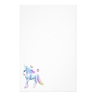 Rainbow unicorn and butterflies stationery