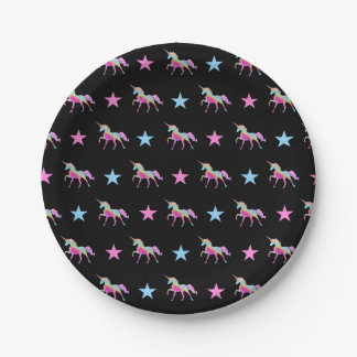 Rainbow Unicorn And Stars Paper Plates