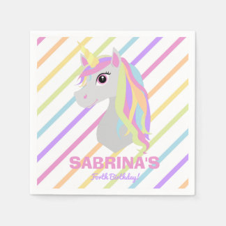 Rainbow Unicorn Birthday Custom Name Paper Napkins