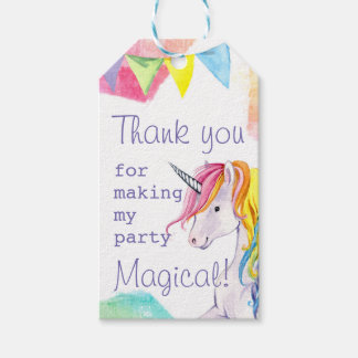 Rainbow Unicorn Birthday Favor Tag
