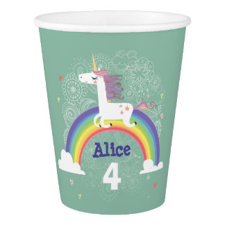 Rainbow Unicorn Birthday Paper Cup - GREEN