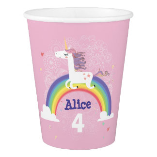 Rainbow Unicorn Birthday Paper Cup - PINK