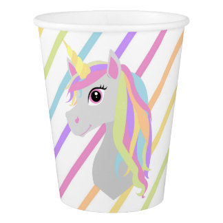 Rainbow Unicorn Birthday Paper Cups