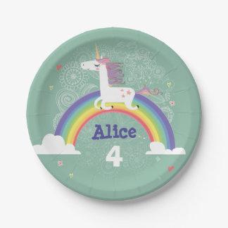 Rainbow Unicorn Birthday Paper Plate - GREEN 7 Inch Paper Plate