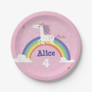 Rainbow Unicorn Birthday Paper Plate - PINK