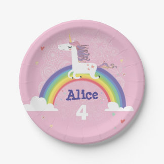 Rainbow Unicorn Birthday Paper Plate - PINK 7 Inch Paper Plate