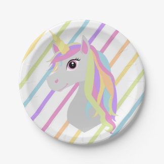Rainbow Unicorn Birthday Paper Plates