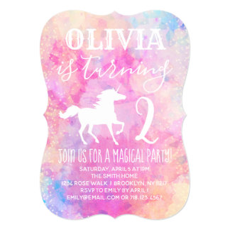 Rainbow Unicorn Birthday Party Invitation Pink