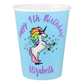 Rainbow Unicorn Birthday Party Paper Cup