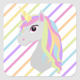 Rainbow Unicorn Birthday Sticker