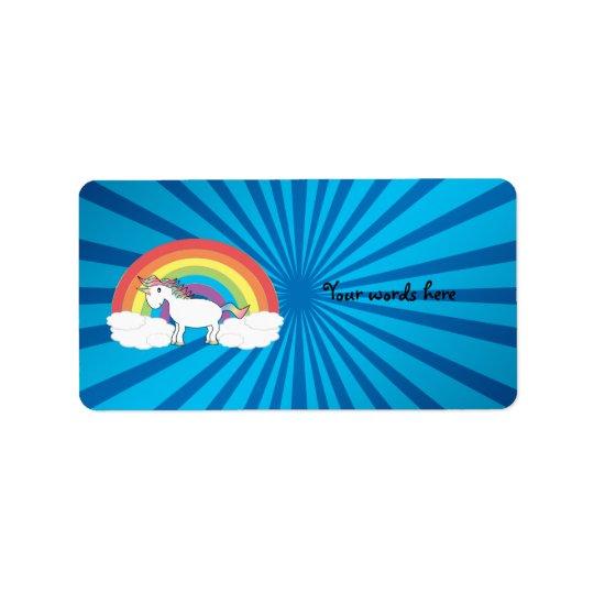 Rainbow unicorn blue sunburst address label