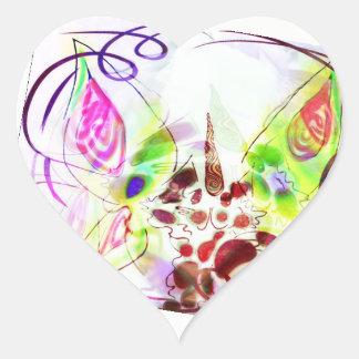 Rainbow Unicorn Butterfly Kitten Love RubK Heart Sticker
