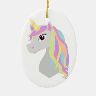 Rainbow Unicorn Ceramic Ornament